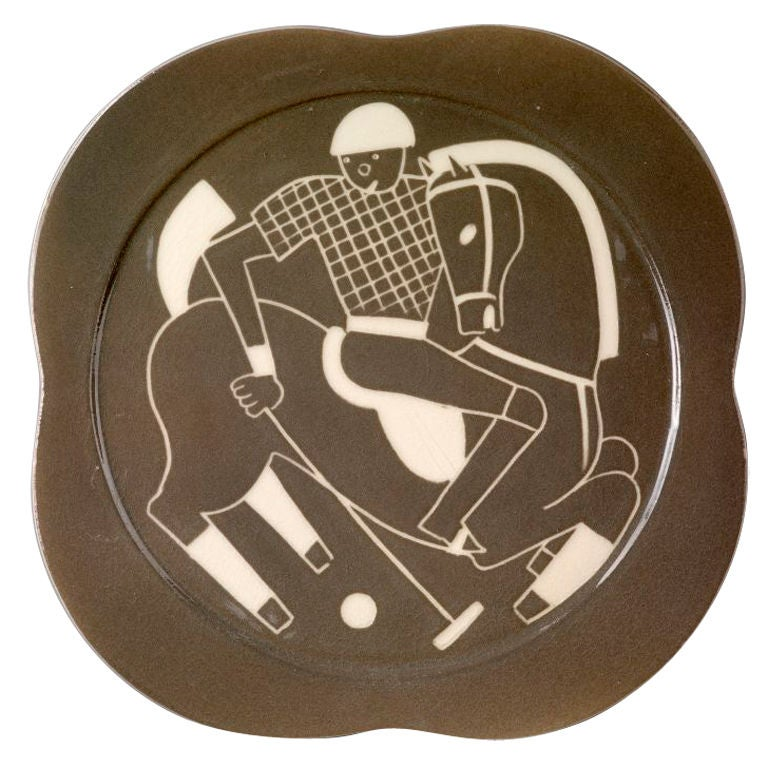 Sgraffito ceramic 'Polo' plates by Waylande Gregory