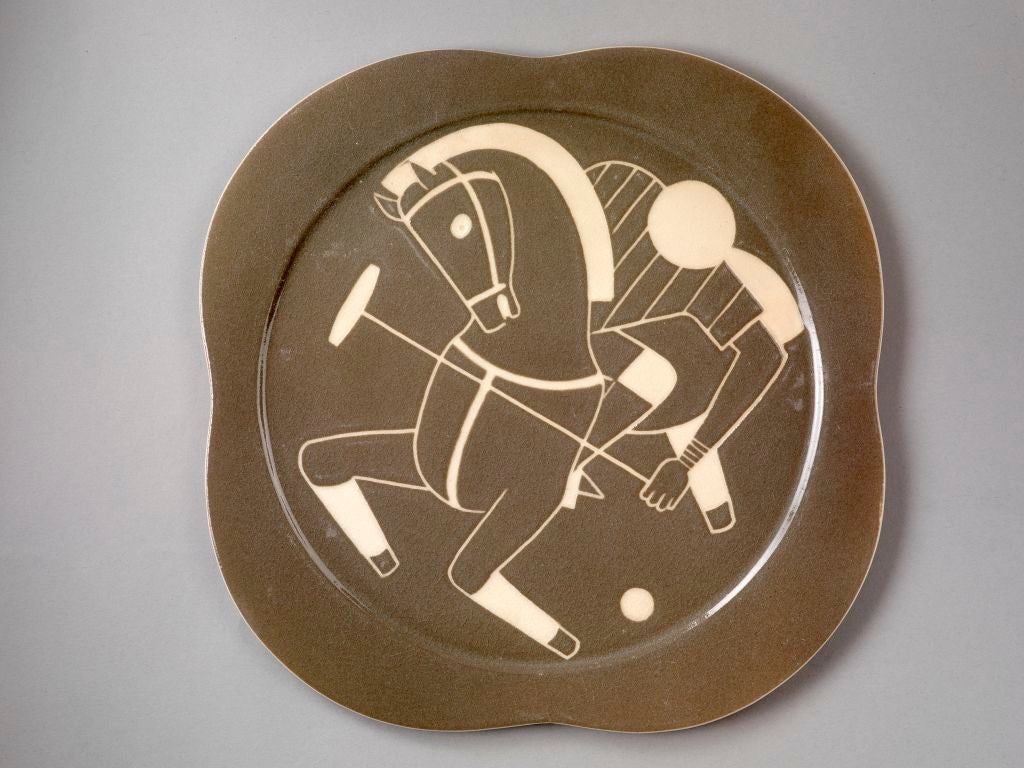American Sgraffito ceramic 'Polo' plates by Waylande Gregory For Sale