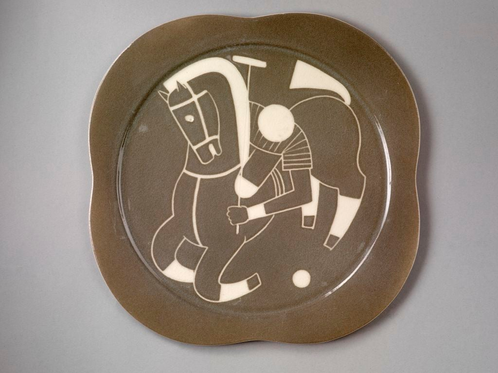 Mid-20th Century Sgraffito ceramic 'Polo' plates by Waylande Gregory For Sale