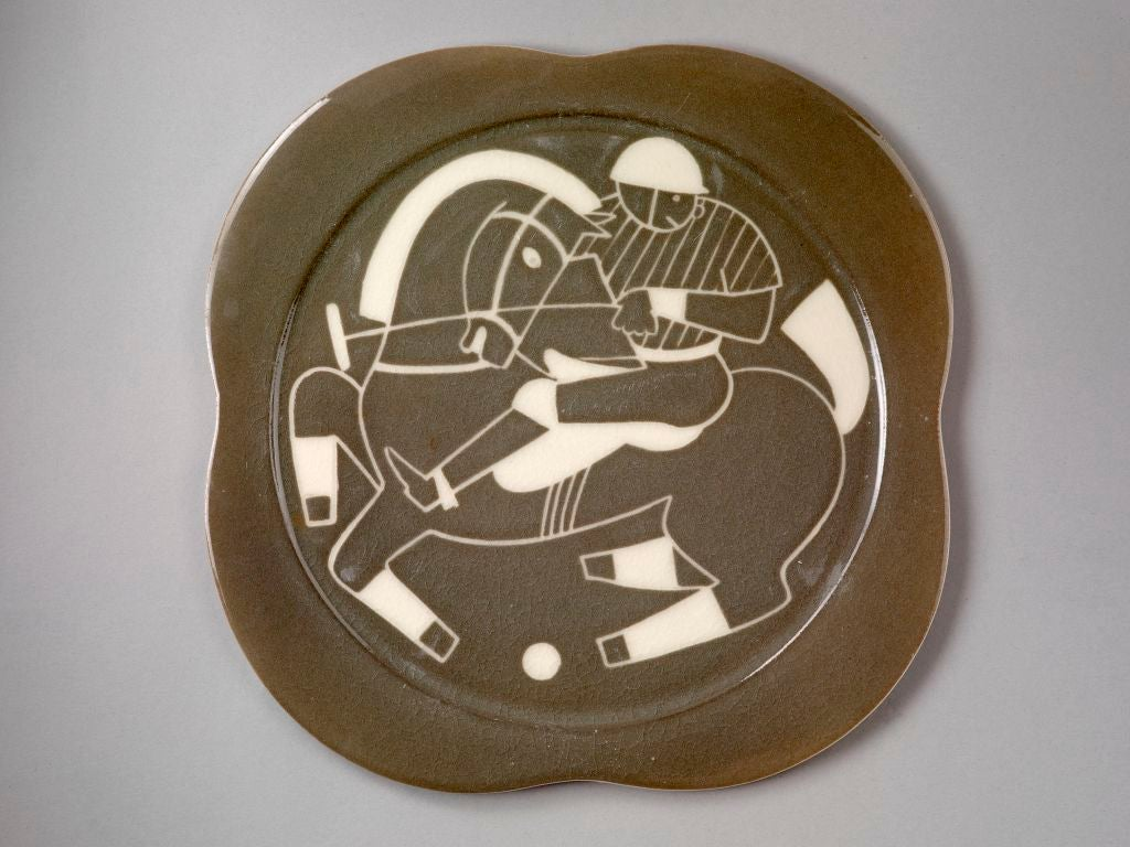 Ceramic Sgraffito ceramic 'Polo' plates by Waylande Gregory For Sale