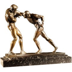 'Boxers' bronze by Marcel-André Bouraine (1886-1948)