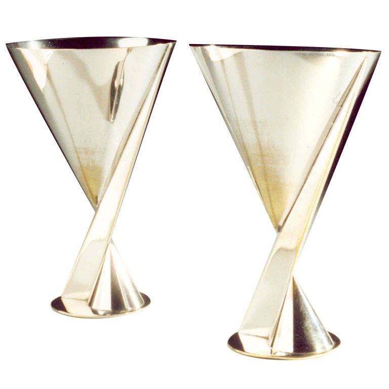 Modernist Art Deco cocktail goblets by  Maison Desny, Paris.