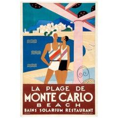 Original 'La Plage de Monte Carlo' poster by M. Bouchaud, 1929