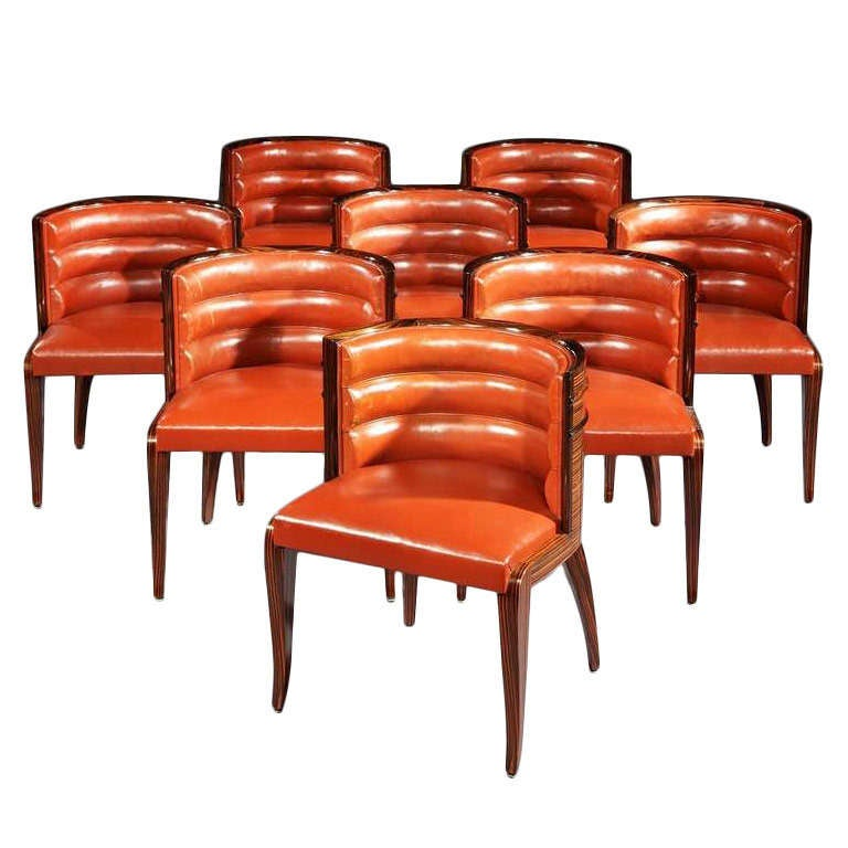 stunning set of 8 art deco barrel back dining chairs at