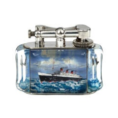 Queen Mary 'Aquarium' table lighter by Alfred Dunhill, c. 1950
