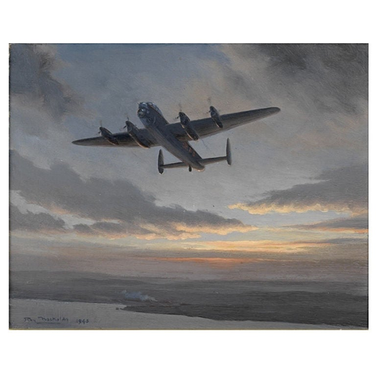'Lancaster Bomber', original painting by Roy Nockolds, 1945 For Sale