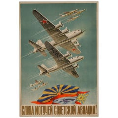Original Russian Aviation Poster, 1951