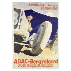 Original 'ADAC-Bergrekord' poster, 1932