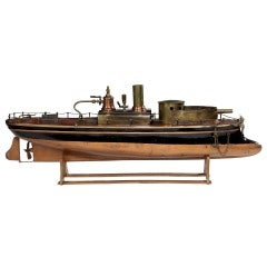 Wooden steam-powered toy 'gunboat' by Radiguet, c. 1890