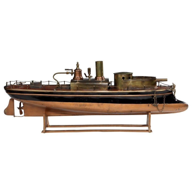 Wooden steam-powered toy 'gunboat' by Radiguet, c. 1890 at ...