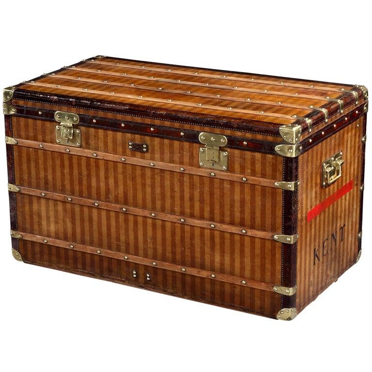 Original 'Rayée' (Stripe) 'Haute' courier trunk by Louis Vuitton
