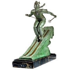 'Female Skier' bronze by Frederic Focht, c. 1930