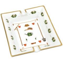 Gardening themed ashtray by Hermès c. 1980s