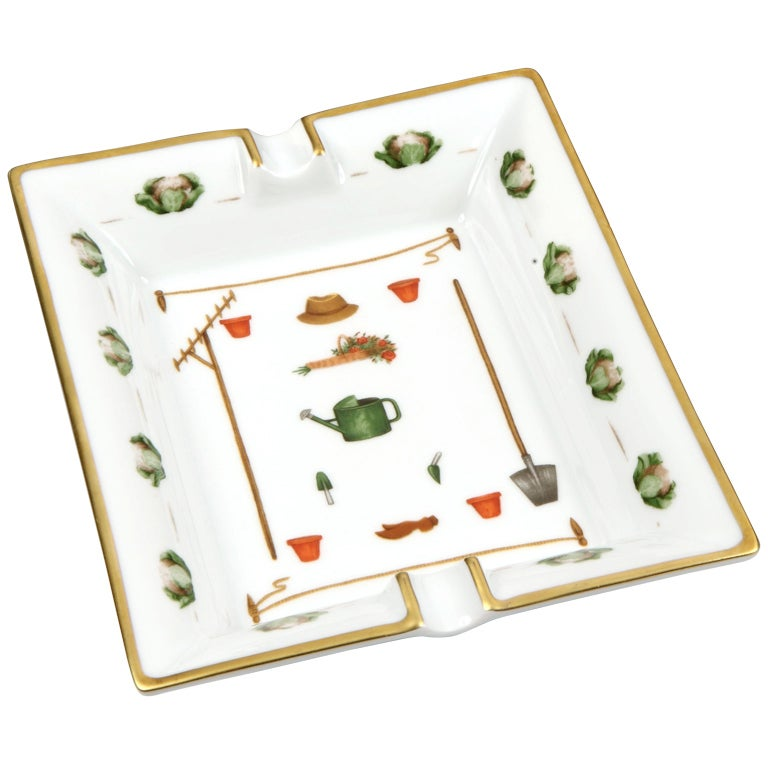 Gardening themed ashtray by Hermès c. 1980s For Sale