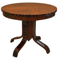 Art Deco Walnut Circular Side Table with Palissander Inlay and Pedestal Base