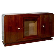 French Art Deco Walnut Sideboard with Wavy Red Onyx Top from the 1930s