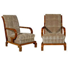 Pair of 1930s Art Deco Period Hungarian Club Chairs with Brown Velour Upholstery