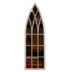English Gothic Revival Broken Arch Painted Window Frame with Mirrored Backing
