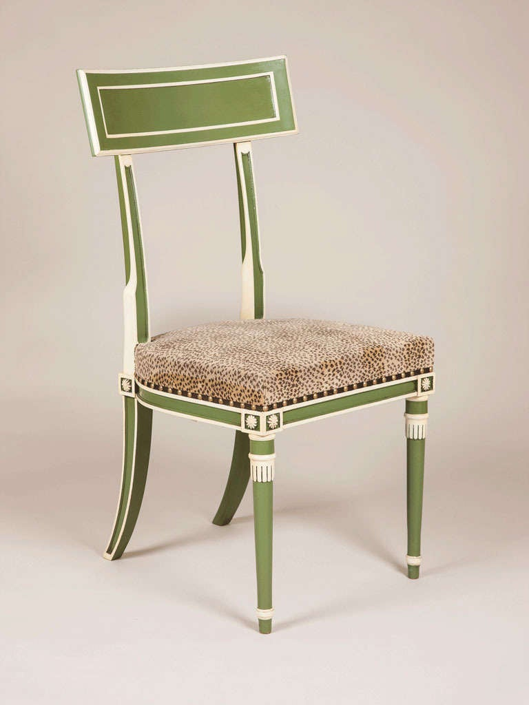 Regency Style Green And White Painted Side Chairs At 1stdibs