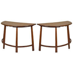 Pair of Demi -lune Walnut Tables