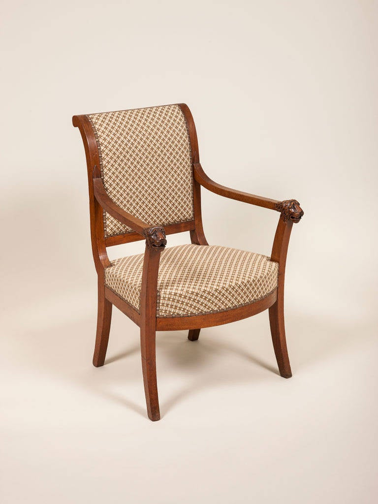french empire period walnut elbow chair for sale at 1stdibs. Black Bedroom Furniture Sets. Home Design Ideas