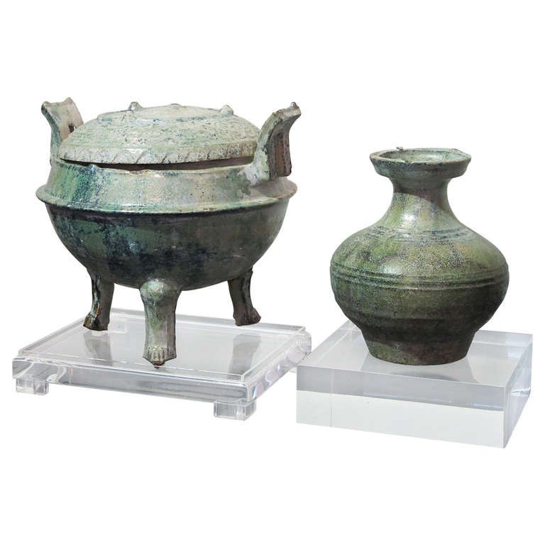 Two Glazed Pottery Items From Han Dynasty At 1stdibs