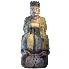 Painted Wooden sculpture of Admiral Cheng Ho of Ming Dynasty