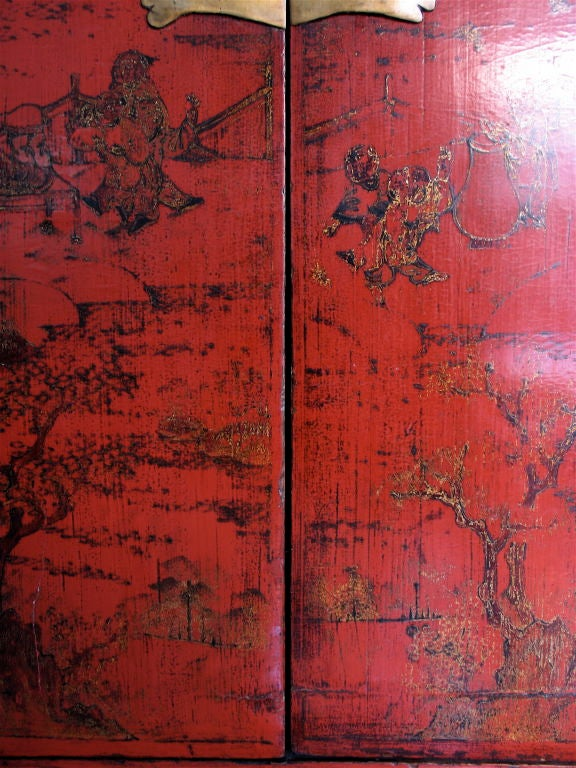 Chinese Red Lacquer Armoire With Original Lacquer Finish