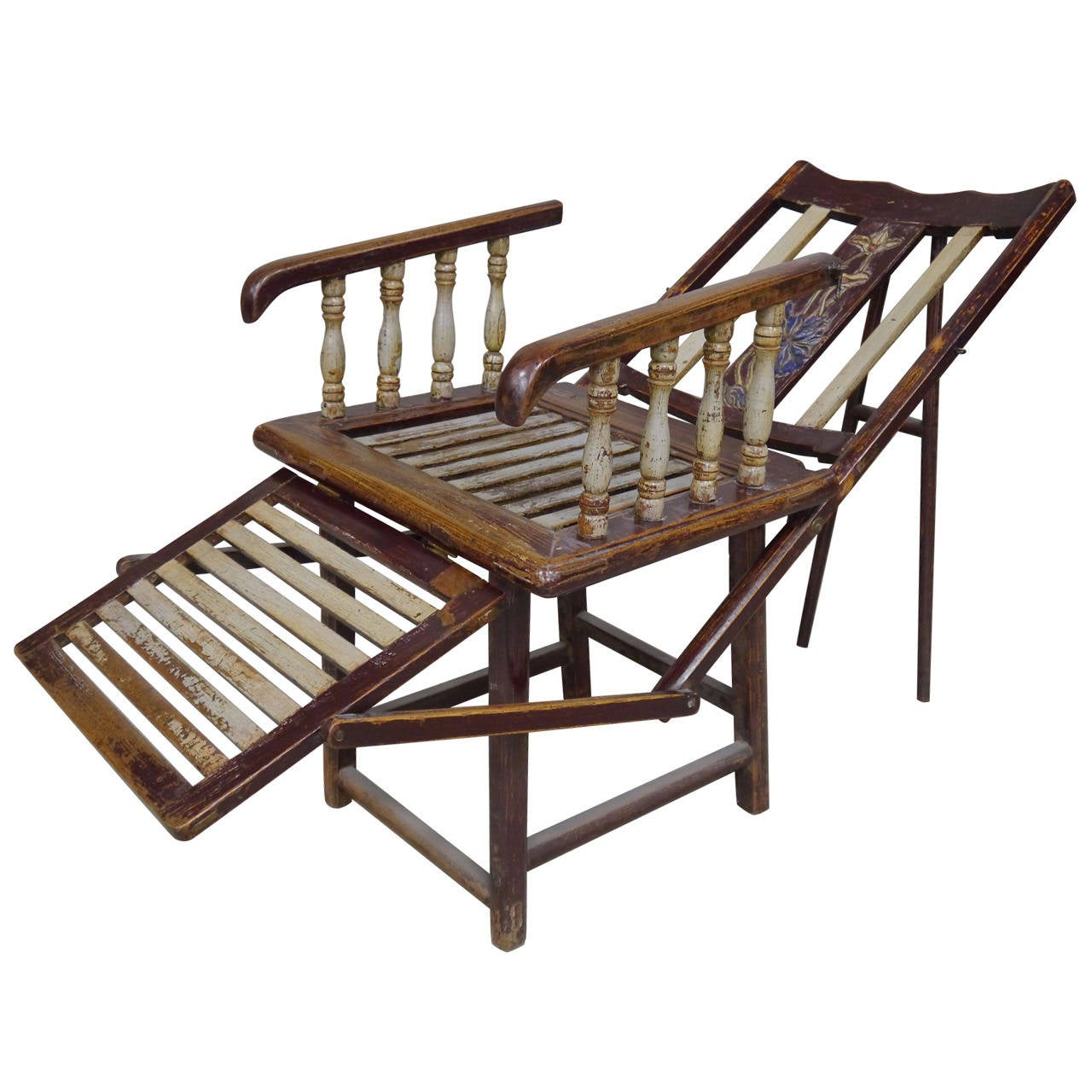 Turn of Century Convertible Lounge Chair from Southern China at 1stdibs