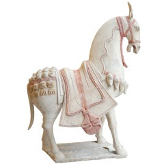 Large Chinese Terracotta Horse From The  Norhern Chi Period