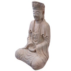 Large 18th Century Sand Stone Sculpture of Guan Yin