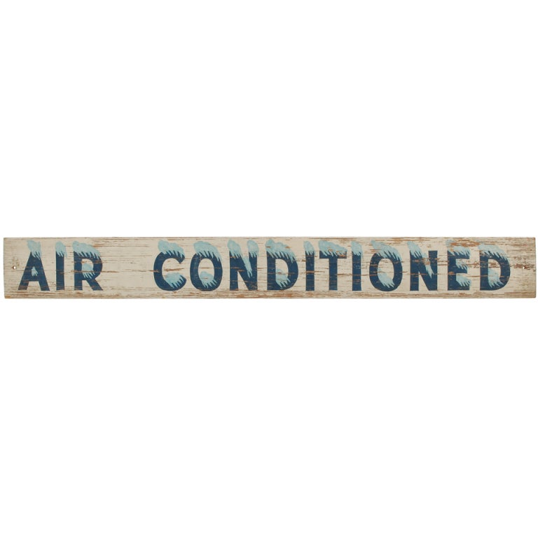 Air Conditioned Vintage Wood Sign At 1stdibs