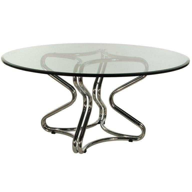 Tubular Chrome Coffee Table: Chrome Tubular Steel Dining Table Base Attributed