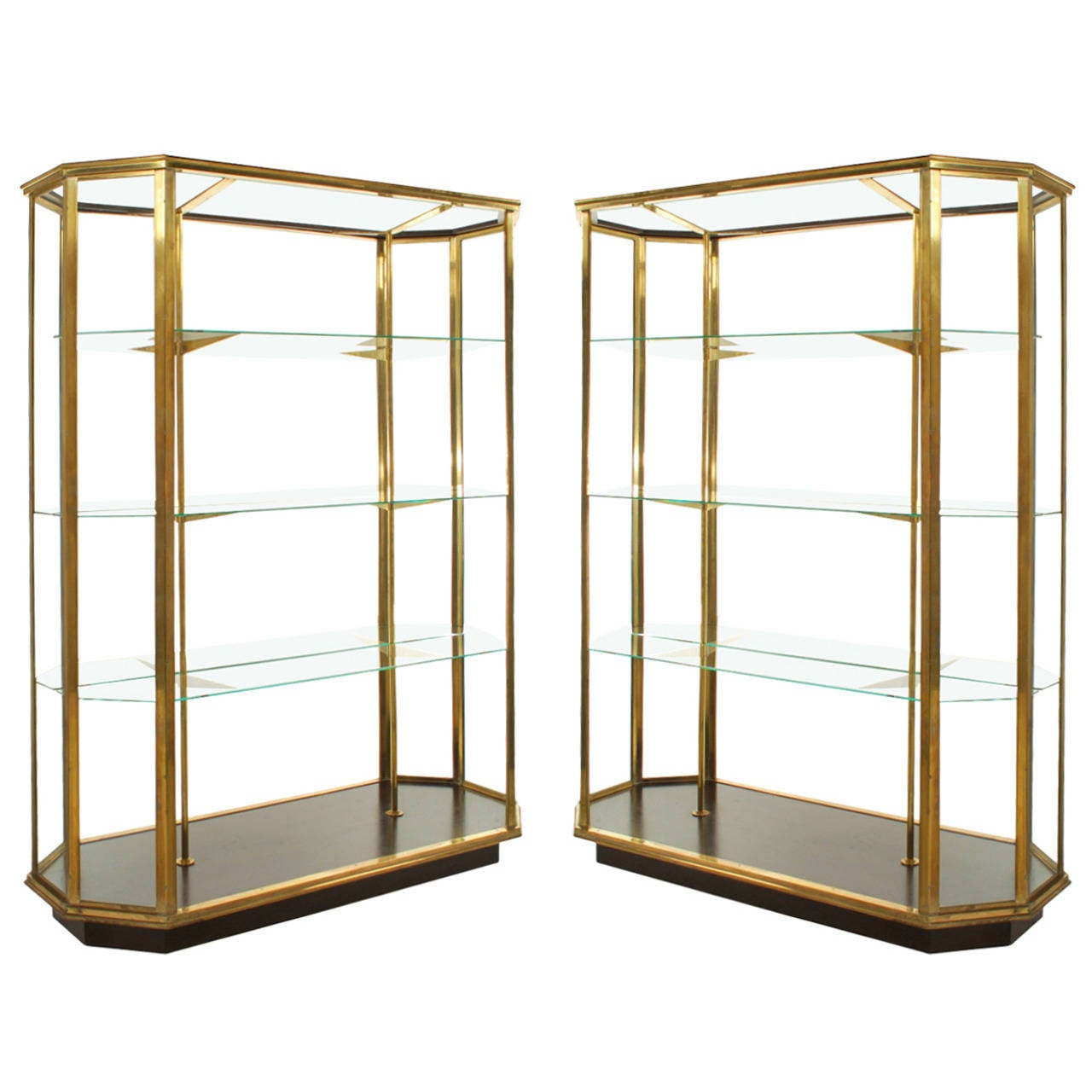 First Dibs Home Decor Pair Of Double Sided Solid Brass Vitrines Store Display