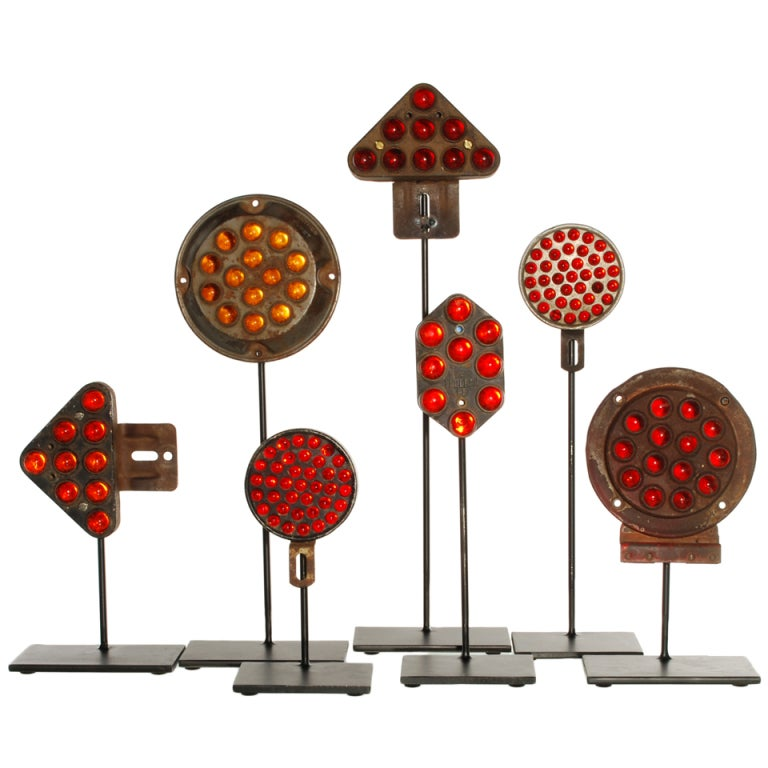 Collection of Antique Reflectors with Glass Marbles on Custom Stands