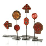 Collection of Antique Reflectors with Glass Marbles on Custom Stands image 2