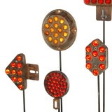 Collection of Antique Reflectors with Glass Marbles on Custom Stands image 5