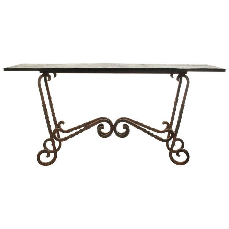 Large Wrought Iron Console Table With Slate Top