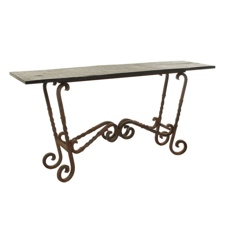 Large Wrought Iron Console Table With Slate Top At 1stdibs