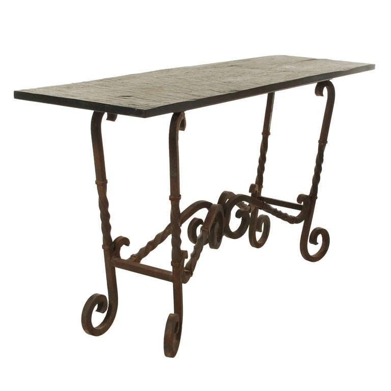Large Wrought Iron Console Table With Slate Top Image 3