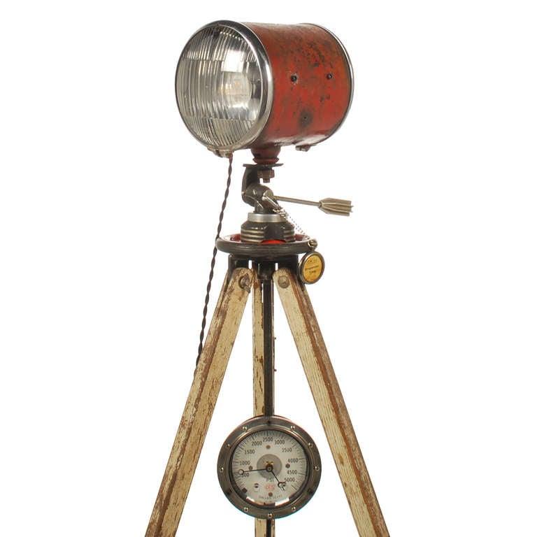 vintage double sided industrial spotlight with stop lens. Black Bedroom Furniture Sets. Home Design Ideas