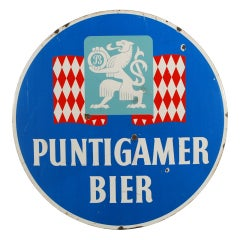 Austrian Puntigamer Beer Porcelain Sign