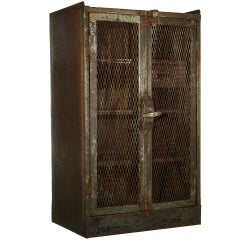 French Railroad Double Door Steel Cabinet