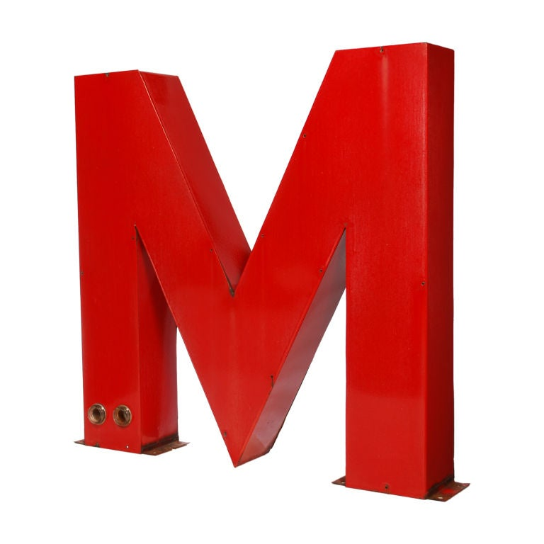 Very large porcelain letter m from a neon sign at 1stdibs for Large neon letters