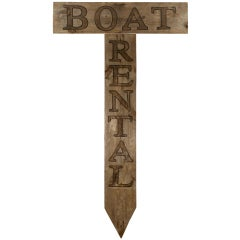 Huge Boat Rental Carved Wood Sign