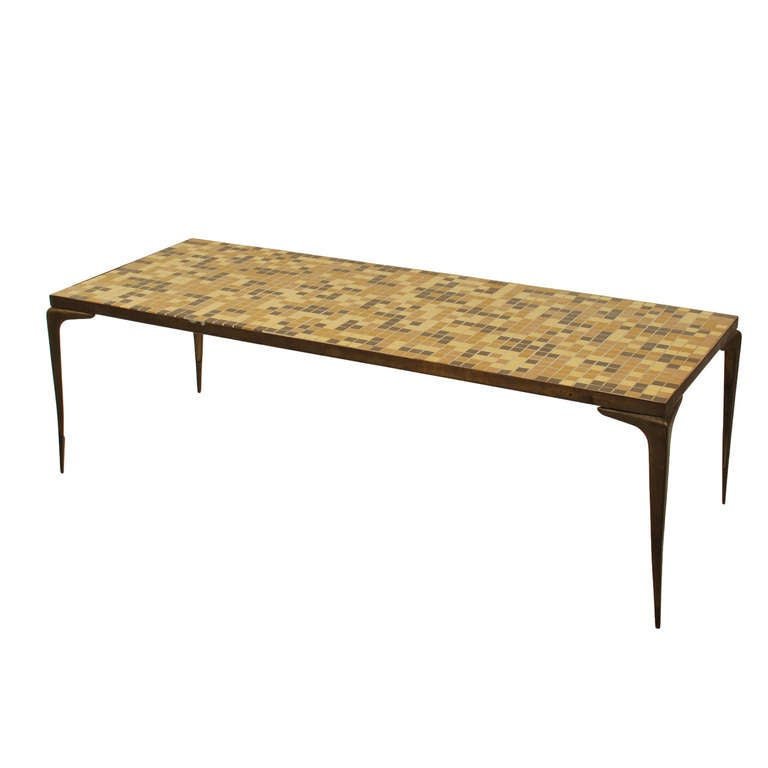 Italian modernist style cocktail table with mosaic tile top and brass legs at 1stdibs Tuscan style coffee table