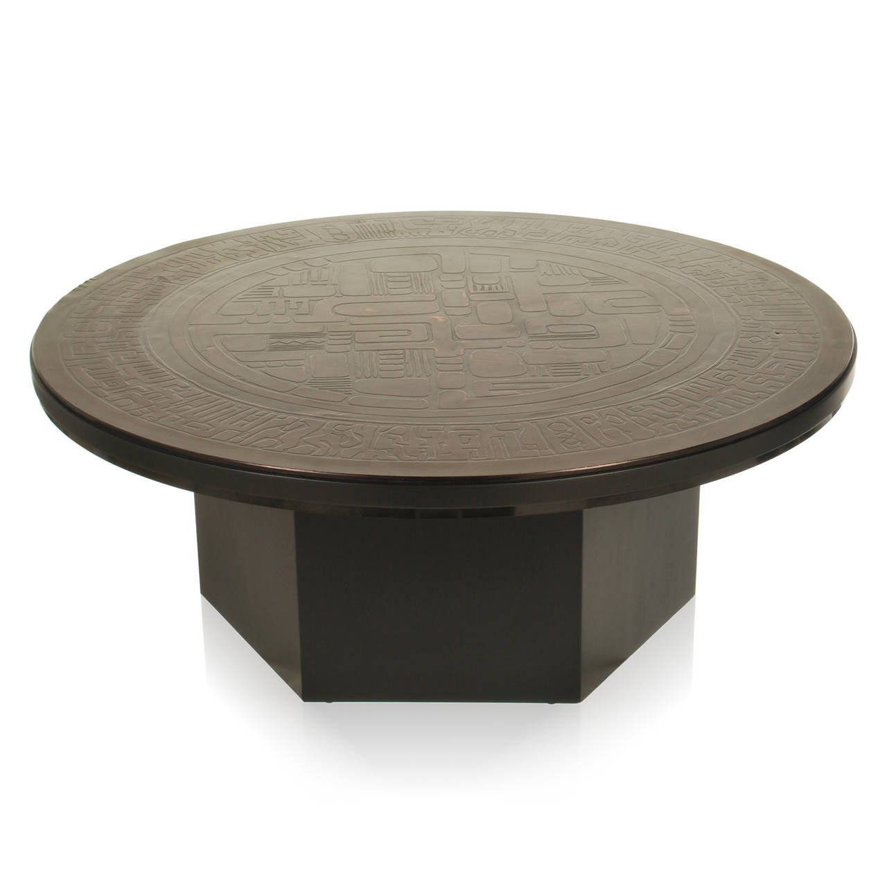 Mid Century Modern Coffee Table With Copper Relief Top Signed Gilbert At 1stdibs