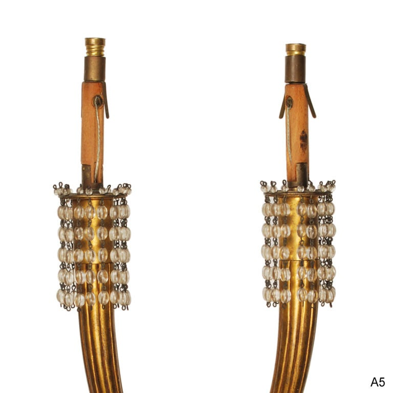 French Pair of Jacques-Emile Ruhlmann Gilt Bronze Wall Sconces