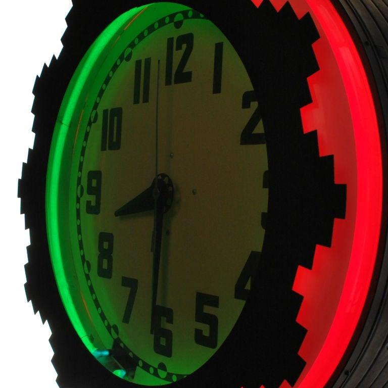 Vinatge Aztec Neon Wall Clock At 1stdibs