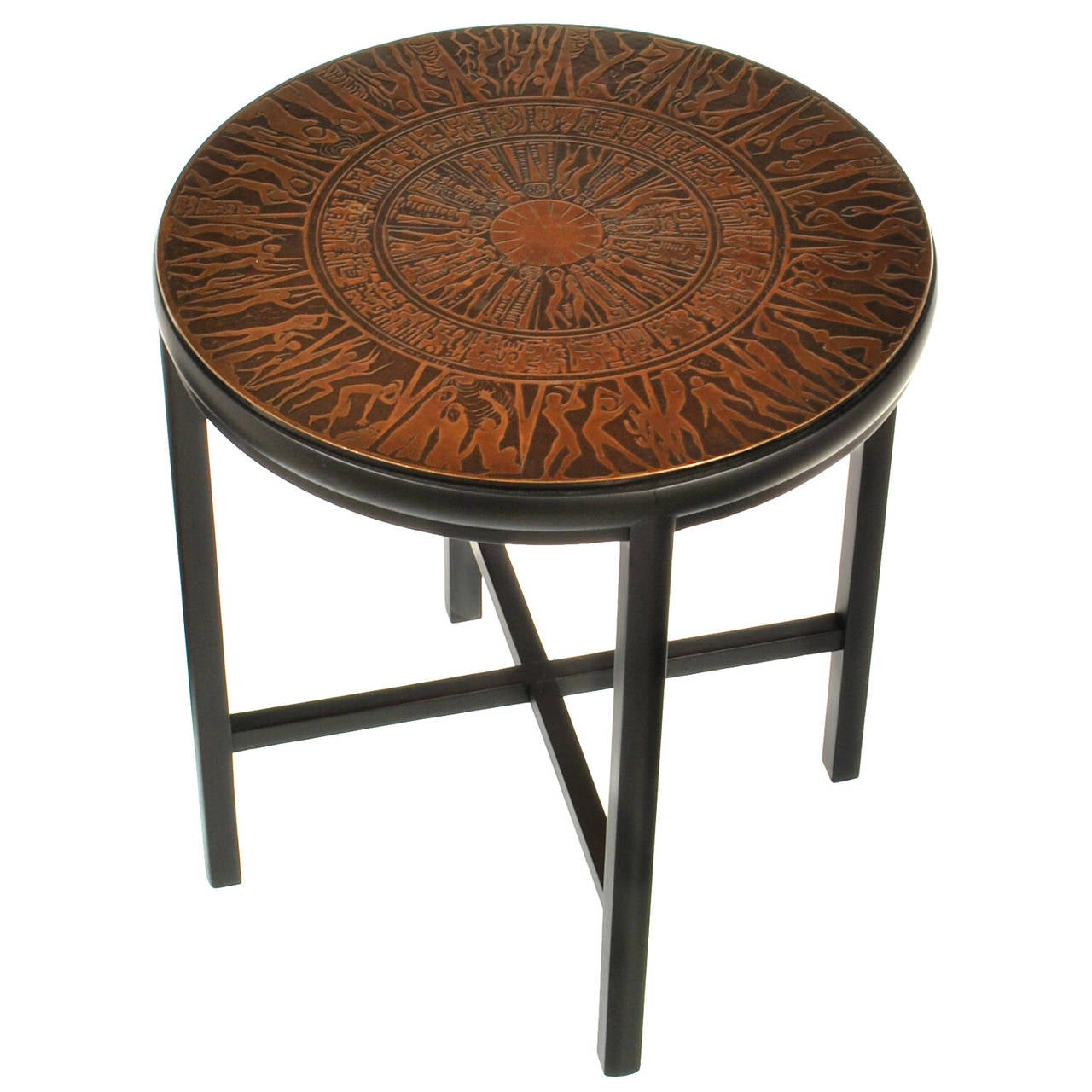 Mid Century Modern Side Table With Copper Relief Top